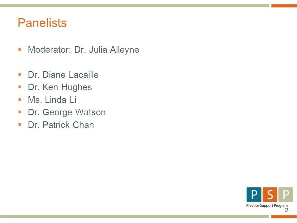 2  Moderator: Dr. Julia Alleyne  Dr. Diane Lacaille  Dr.