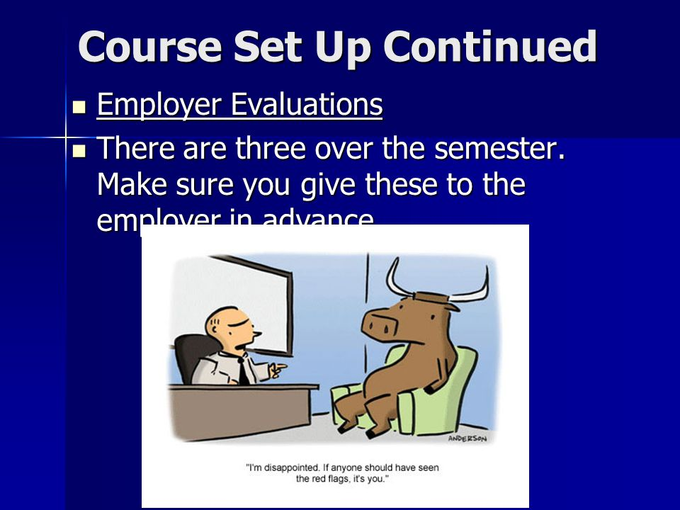 Course Set Up Continued Employer Evaluations Employer Evaluations There are three over the semester.