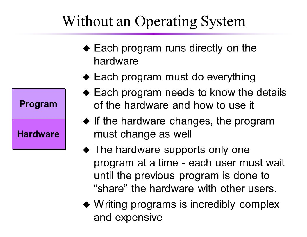 Without an Operating System u Each program runs directly on the hardware u Each program must do everything u Each program needs to know the details of the hardware and how to use it u If the hardware changes, the program must change as well u The hardware supports only one program at a time - each user must wait until the previous program is done to share the hardware with other users.