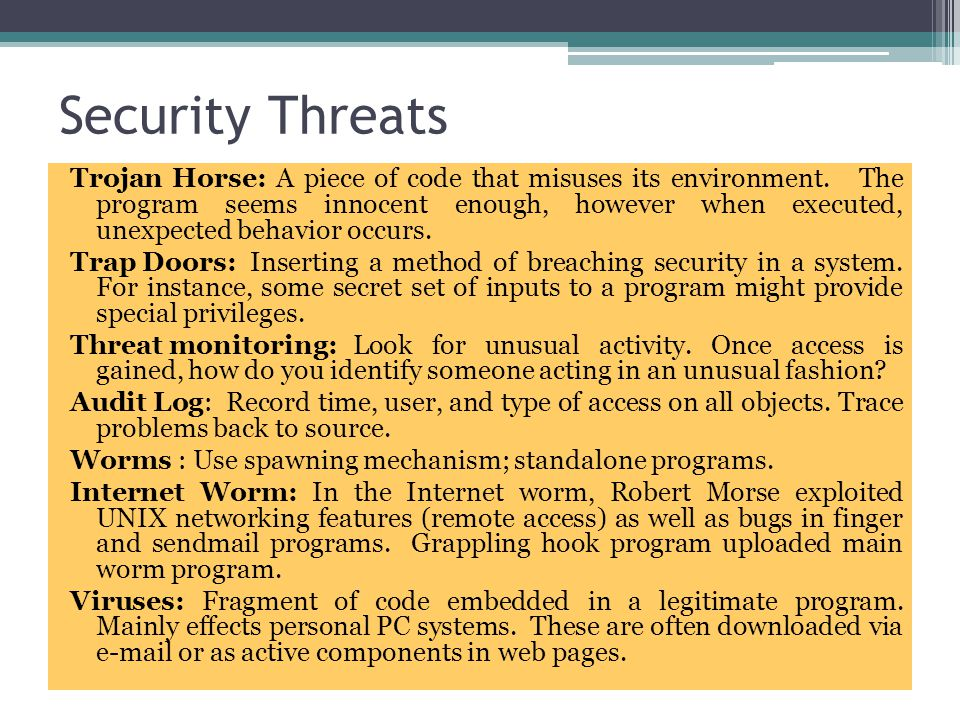 setuid root Vulnerabilities a setuid root program runs as root no matter who executes it used to provide unprivileged users with access to privileged resources must be very carefully programmed if can be exploited due to a software bug may allow otherwise-unprivileged users to use it to wield unauthorized root privileges distributions now minimise setuid-root programs system attackers still scan for them!