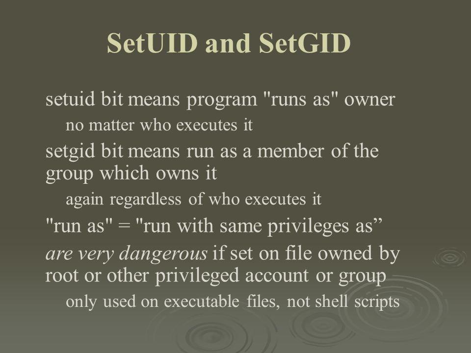 SetUID and SetGID setuid bit means program