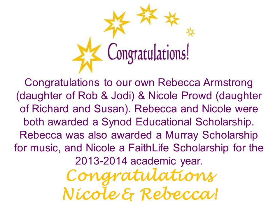 Congratulations to our own Rebecca Armstrong (daughter of Rob & Jodi) & Nicole Prowd (daughter of Richard and Susan). Rebecca and Nicole were both awa