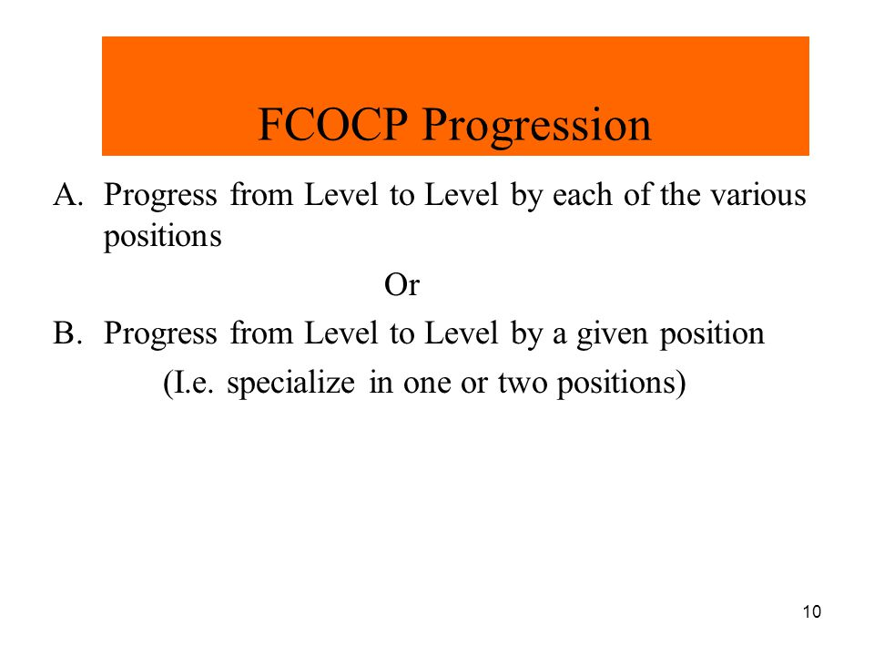 11 FCOCP Progression Chart Level IV Level III Level II Level I 6 Officials 5 Officials 3 or 4 Officials Referee UmpireDeep Sides UmpireDeep Sides Umpire