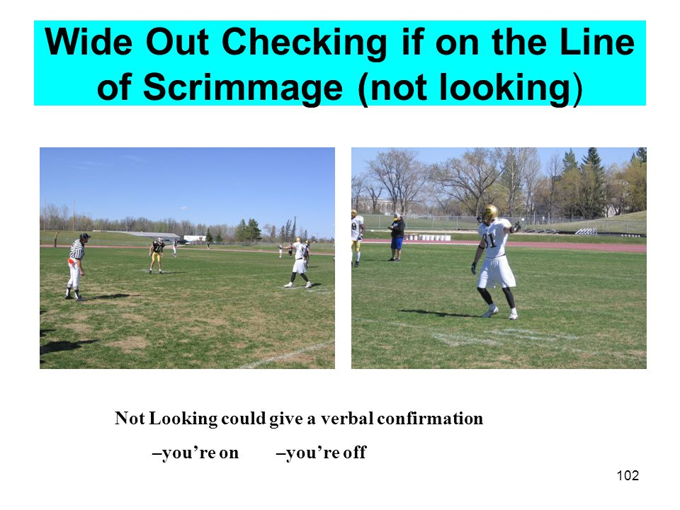 103 Signals most used often by Sideline officials Time in –Full arm circles to simulate clock Time out- Hands crisscrossed above the head