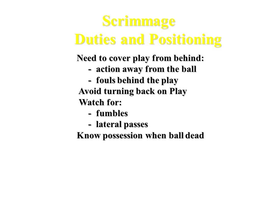 G 5 10 15 20 25 30 35 40 45 50 C 50 F H U R 4 Official System Scrimmage Play Running