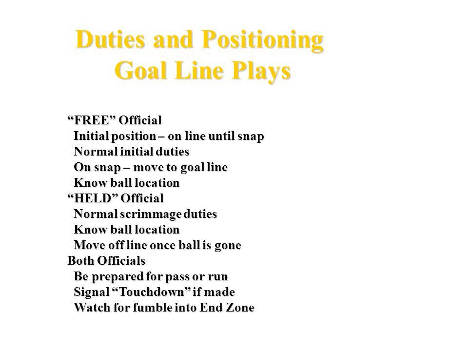 FH U R Goal Line Stand - 4 Officials G 5 10 15 20 25 30 35