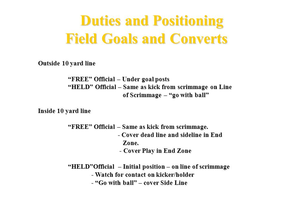 F H U R 4 Official System Field Goal Outside 10 Yd G 5 10 15 20 25 30 35 40 45 50 C