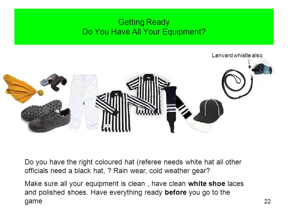 23 Official Uniform White hat for Referee Whistle with lanyard Association crest Black hat for all positions except Referee