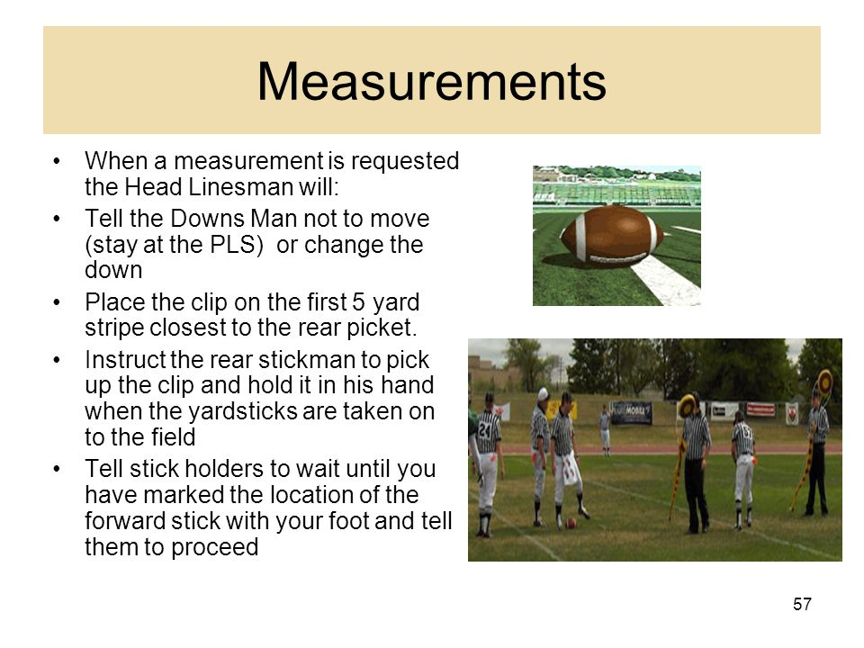 58 Measurements Head linesman marks forward picket Umpire will get forward picket Ball boy will give ball to back judge Referee holding the ball at spot Back official holds back picket Back picket holder will pick up clip and carry it in