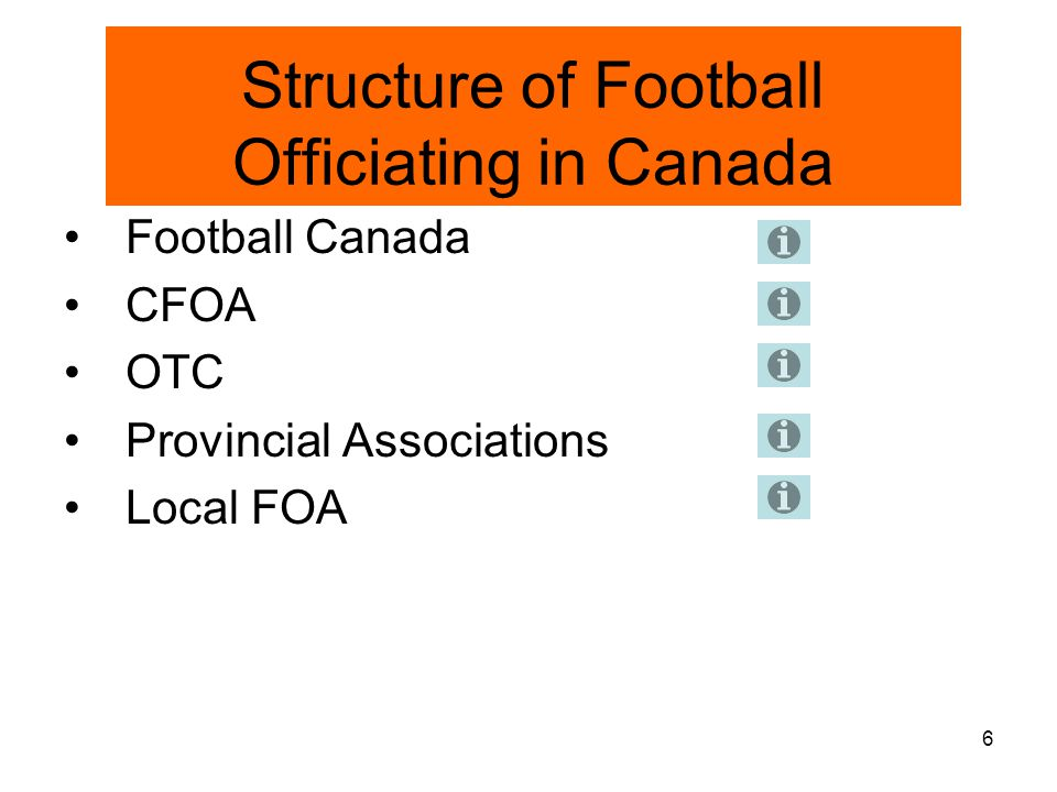 7 Football Canada Official's Certification Program (FCOCP) Aims 1.Standardization of Positioning Mechanics Rules Knowledge Rules Interpretation Rules Application 2National Recognition 3Improve Image of Officials 4Improve Confidence