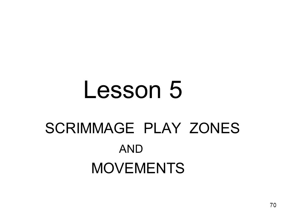 71 Lesson 5 SCRIMMAGE PLAY ZONES and Movements 1.Line of Scrimmage 2.Neutral Zone 3.Line of Scrimmage- Team A requirements 4.Team A movement at the Line of Scrimmage 5.Lineman stances 6.The Centre 7.The Centre on Kicking plays 8.Close line Area play 9.Crack back block zone 10.Crack back Block 11.Illegal procedure 12.Offside 13.Holding /illegal use of hands Use when coming back from Lesson 9 to review To return to Lesson 9