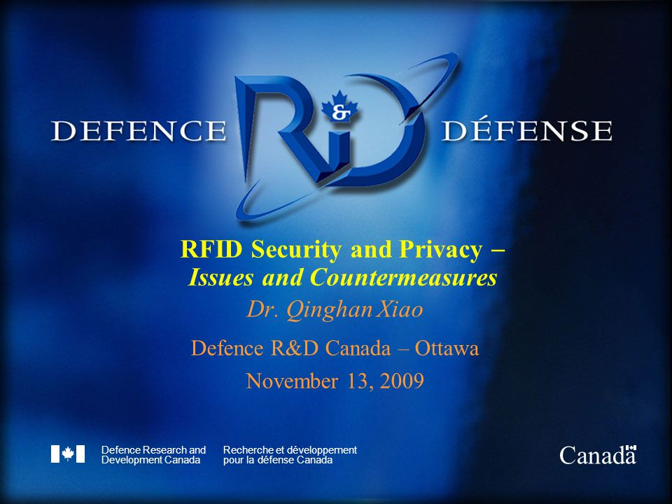 Defence R&D Canada – Ottawa R & D pour la défense Canada – Ottawa Tracking and Tracing Reference [8]