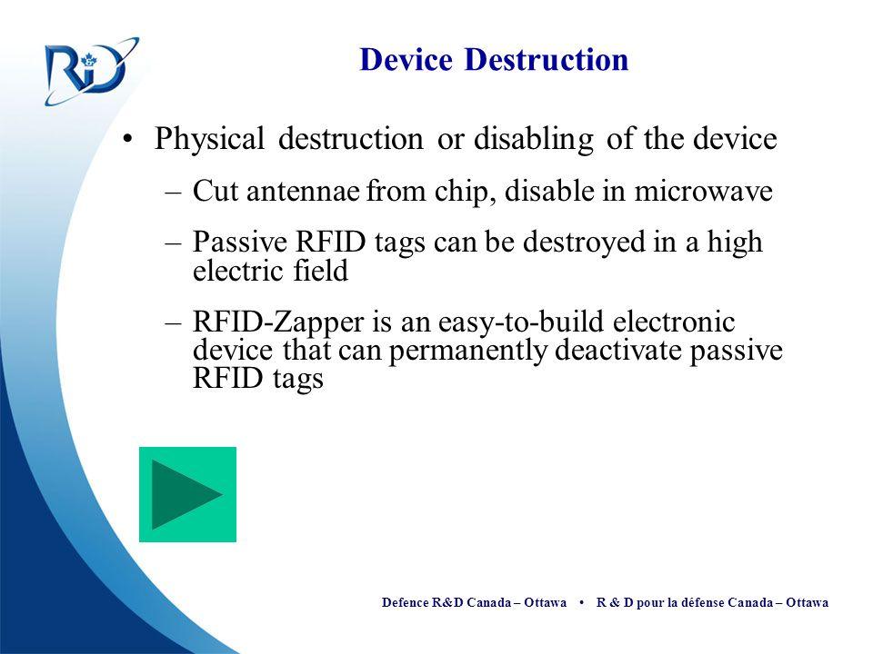 Defence R&D Canada – Ottawa R & D pour la défense Canada – Ottawa Device Destruction Physical destruction or disabling of the device –Cut antennae fro