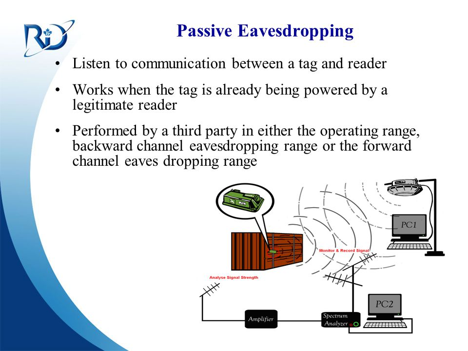 Defence R&D Canada – Ottawa R & D pour la défense Canada – Ottawa Passive Eavesdropping Listen to communication between a tag and reader Works when th