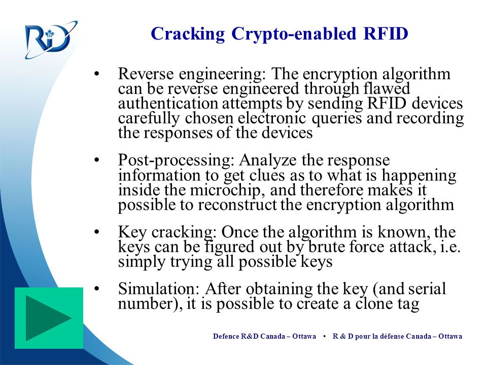 Defence R&D Canada – Ottawa R & D pour la défense Canada – Ottawa Cracking Crypto-enabled RFID Reverse engineering: The encryption algorithm can be re
