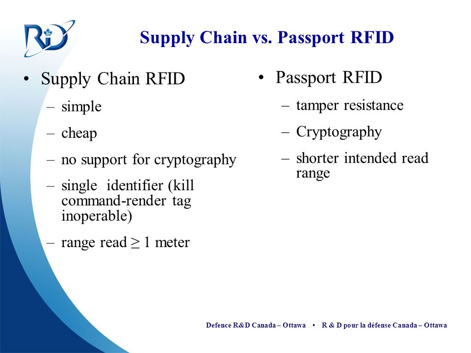 Defence R&D Canada – Ottawa R & D pour la défense Canada – Ottawa Supply Chain vs. Passport RFID Supply Chain RFID –simple –cheap –no support for cryp