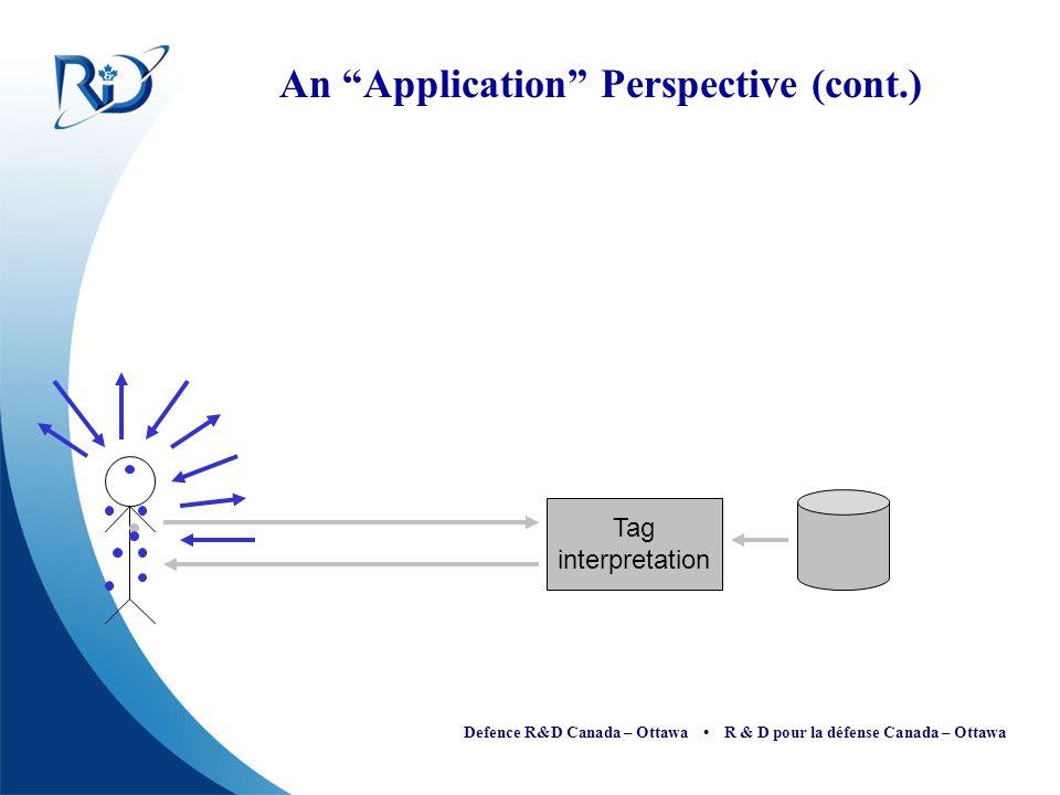 "Defence R&D Canada – Ottawa R & D pour la défense Canada – Ottawa An ""Application"" Perspective (cont.) Tag interpretation"