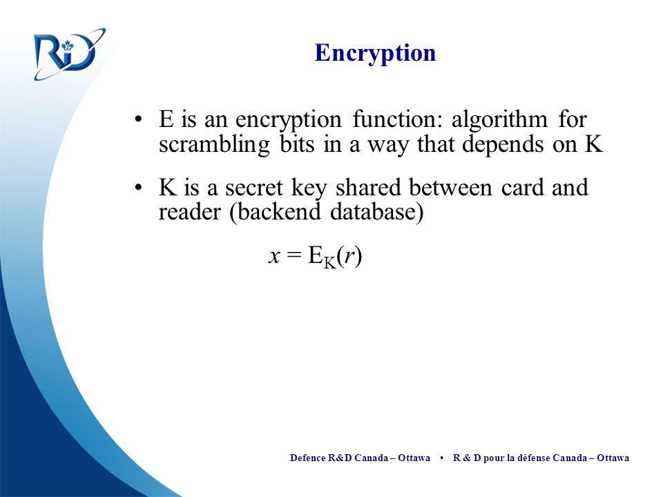 Defence R&D Canada – Ottawa R & D pour la défense Canada – Ottawa Encryption E is an encryption function: algorithm for scrambling bits in a way that