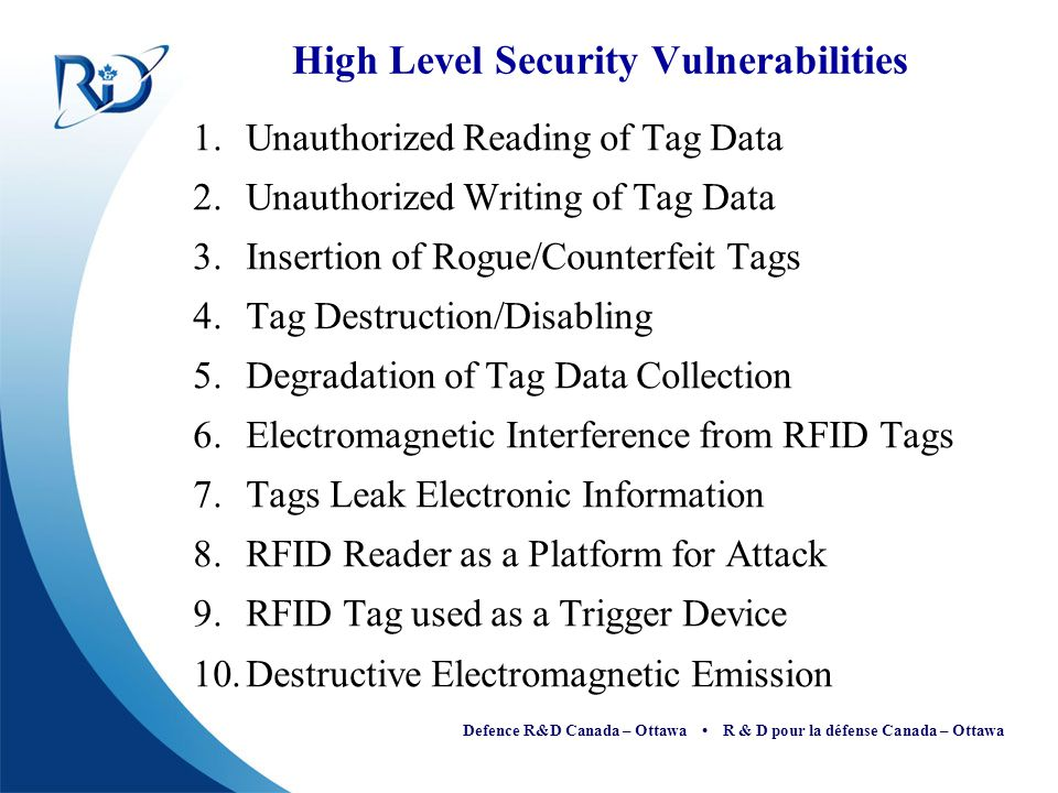Defence R&D Canada – Ottawa R & D pour la défense Canada – Ottawa References [1] Mark Norton, RFID Security Issues , Wireless/RFID Conference, Feb.