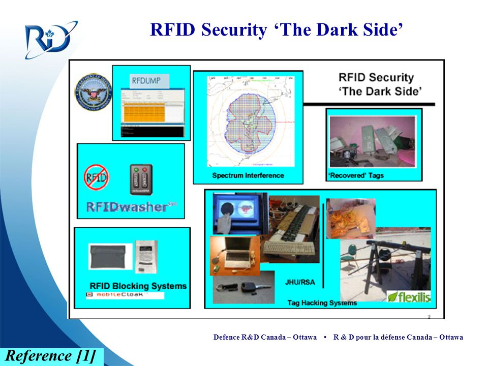 Defence R&D Canada – Ottawa R & D pour la défense Canada – Ottawa The Dark Side RFDUMP — is a tool that allows you to not only read RFID tags within range, but more worryingly, you can actually change and alter the data stored in the RFID tag Spectrum Interference — not only degrades the read range between a reader and an object, but also corrupts data packets being sent back and forth RFID Washer — finds RFID tags and electronically washes it RFID Blocking System — is originally developed to protect user privacy.