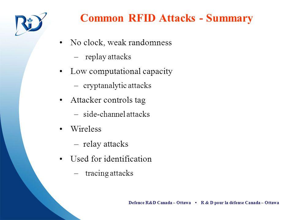 Defence R&D Canada – Ottawa R & D pour la défense Canada – Ottawa Common RFID Attacks - Summary No clock, weak randomness – replay attacks Low computa