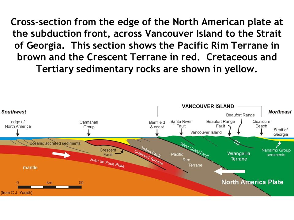 Cross-section from the edge of the North American plate at the subduction front, across Vancouver Island to the Strait of Georgia. This section shows