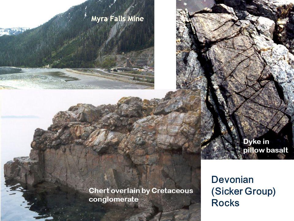 Myra Falls Mine Devonian (Sicker Group) Rocks Dyke in pillow basalt Chert overlain by Cretaceous conglomerate