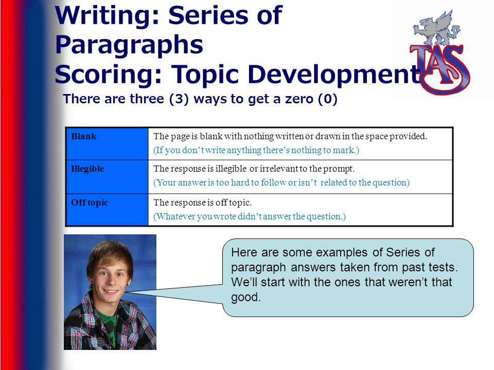 Writing: Series of Paragraphs Scoring: Topic Development There are three (3) ways to get a zero (0) BlankThe page is blank with nothing written or drawn in the space provided.