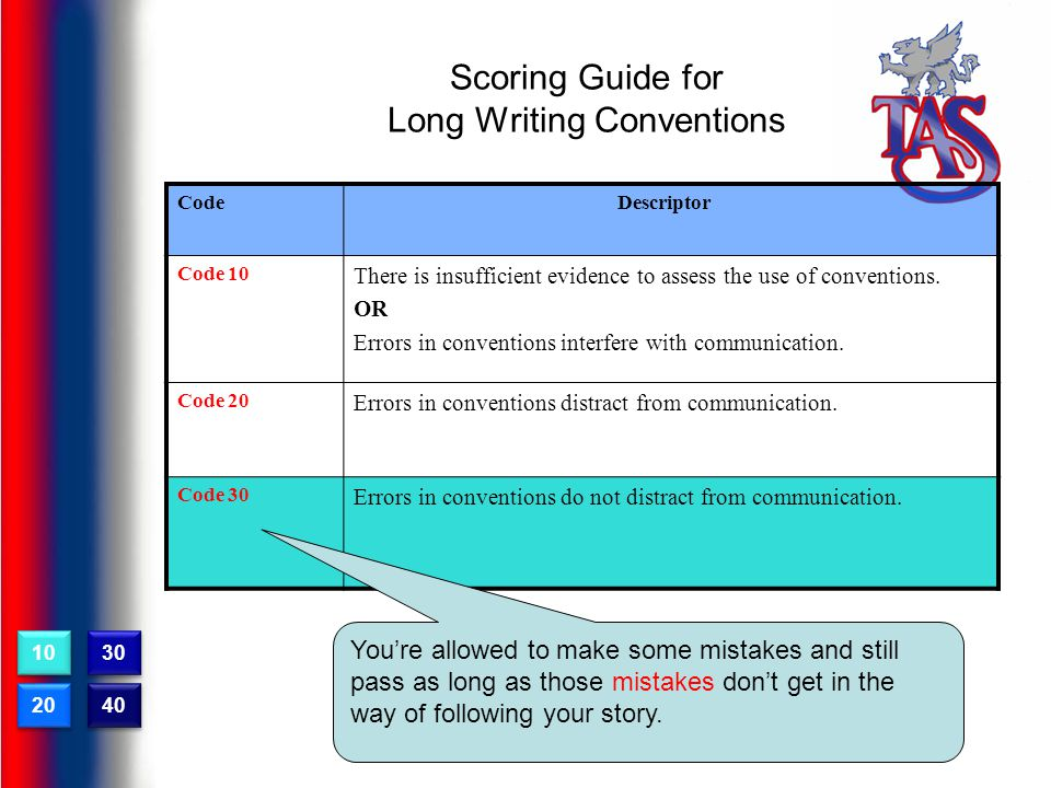 Scoring Guide for Long Writing Conventions CodeDescriptor Code 10 There is insufficient evidence to assess the use of conventions.