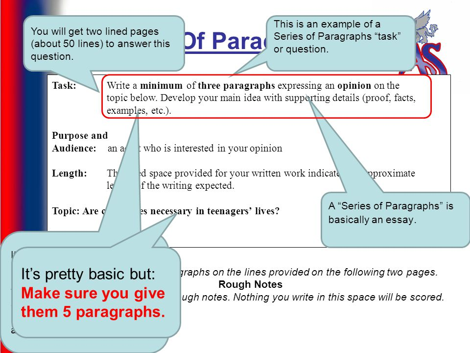 Series Of Paragraphs Task: Write a minimum of three paragraphs expressing an opinion on the topic below.