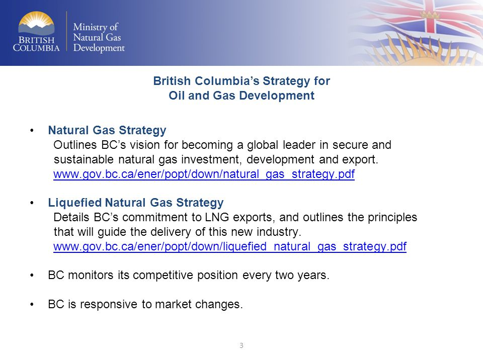 3 Natural Gas Strategy Outlines BC's vision for becoming a global leader in secure and sustainable natural gas investment, development and export. www