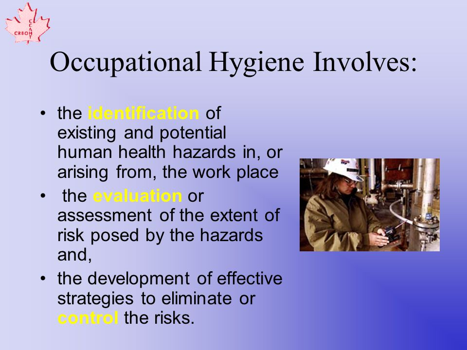 Occupational Hygiene Involves: the identification of existing and potential human health hazards in, or arising from, the work place the evaluation or assessment of the extent of risk posed by the hazards and, the development of effective strategies to eliminate or control the risks.