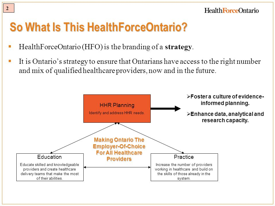 2 So What Is This HealthForceOntario.  HealthForceOntario (HFO) is the branding of a strategy.