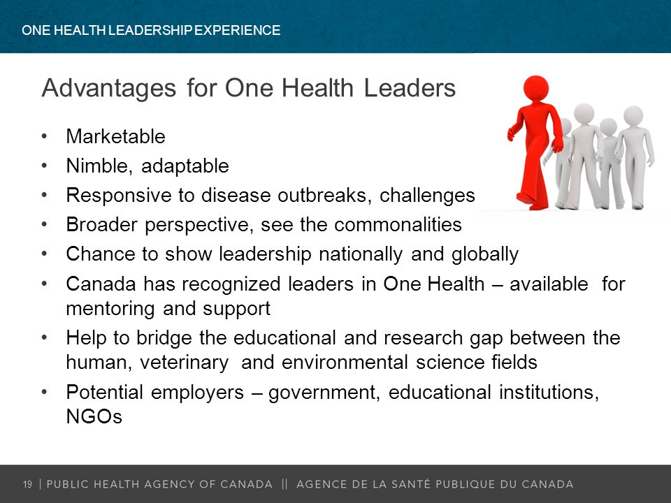 ONE HEALTH LEADERSHIP EXPERIENCE 19 Advantages for One Health Leaders Marketable Nimble, adaptable Responsive to disease outbreaks, challenges Broader