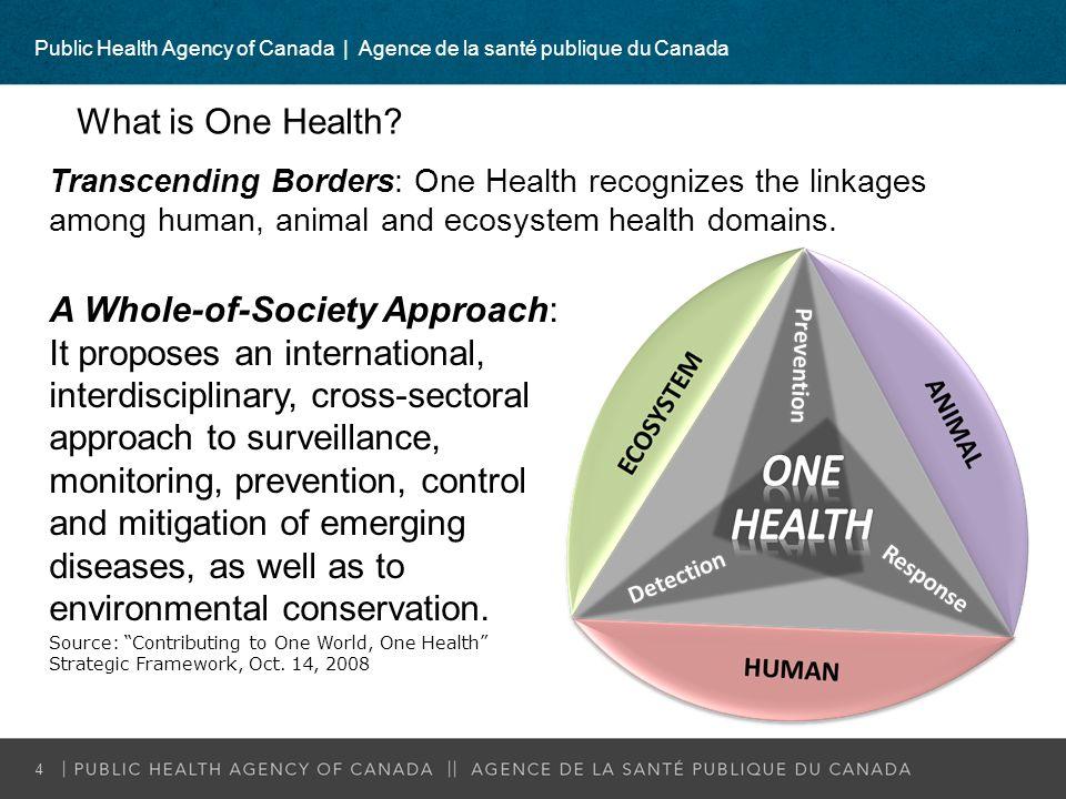 Public Health Agency of Canada   Agence de la santé publique du Canada 4 What is One Health? Transcending Borders: One Health recognizes the linkages