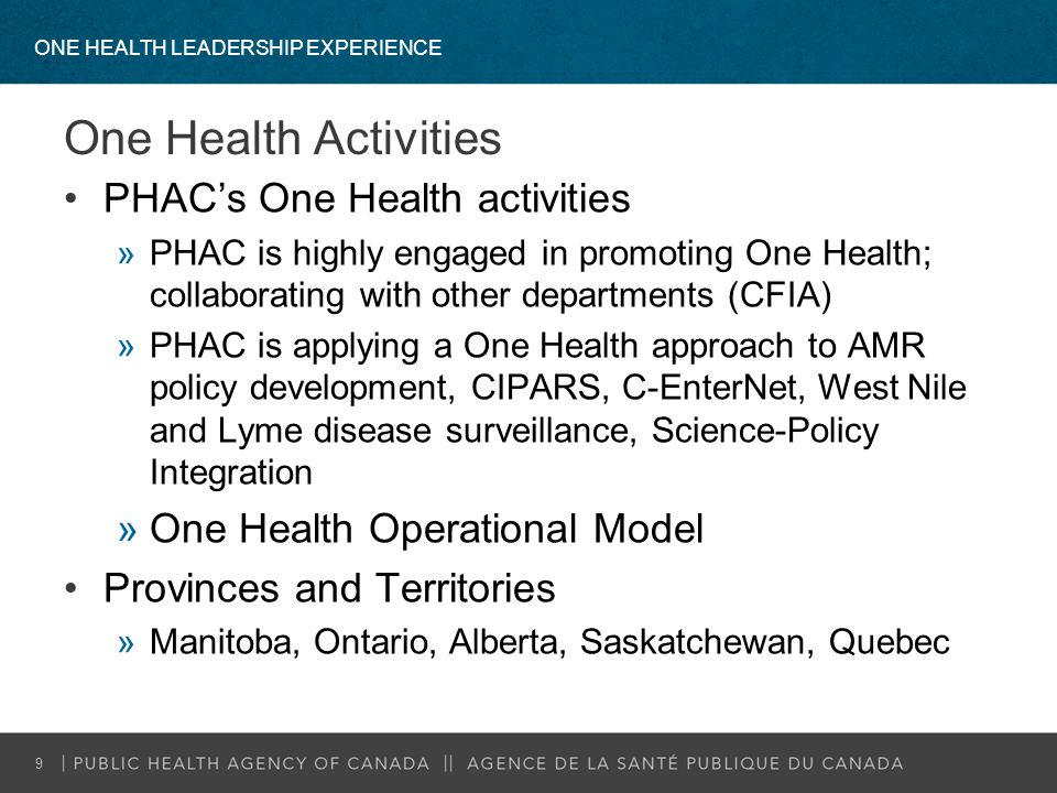 One Health Activities PHAC's One Health activities »PHAC is highly engaged in promoting One Health; collaborating with other departments (CFIA) »PHAC