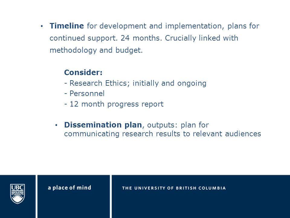 Timeline for development and implementation, plans for continued support.
