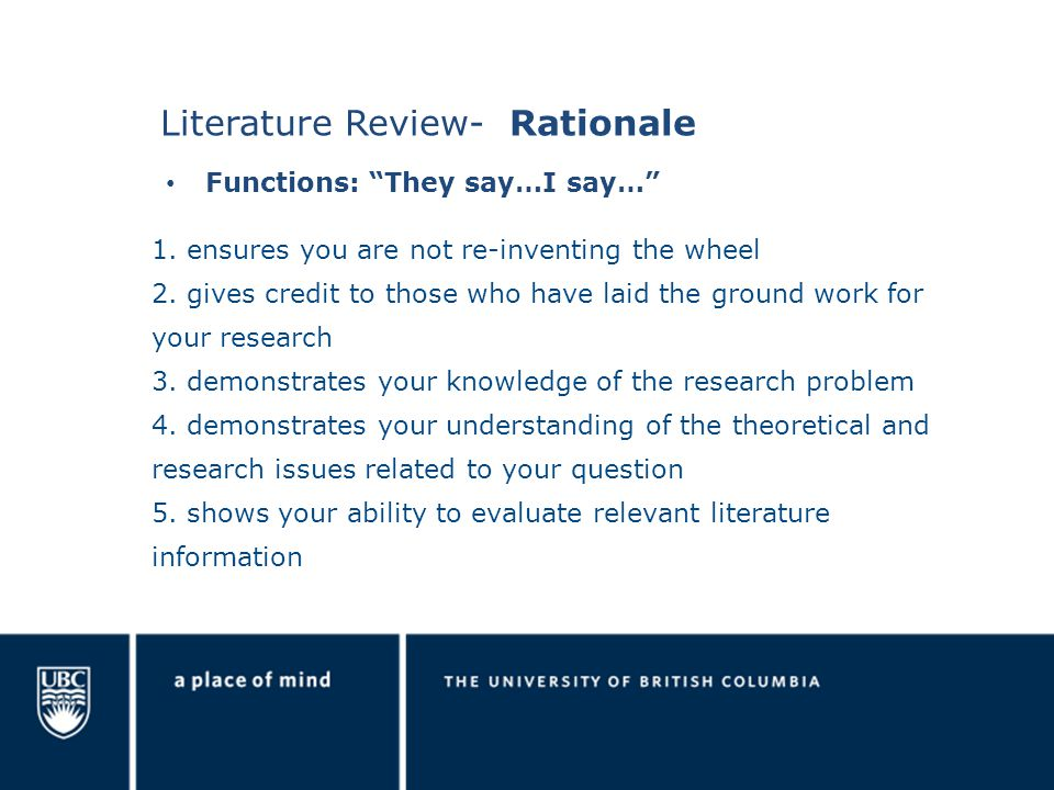 Literature Review- Rationale 1. ensures you are not re-inventing the wheel 2.