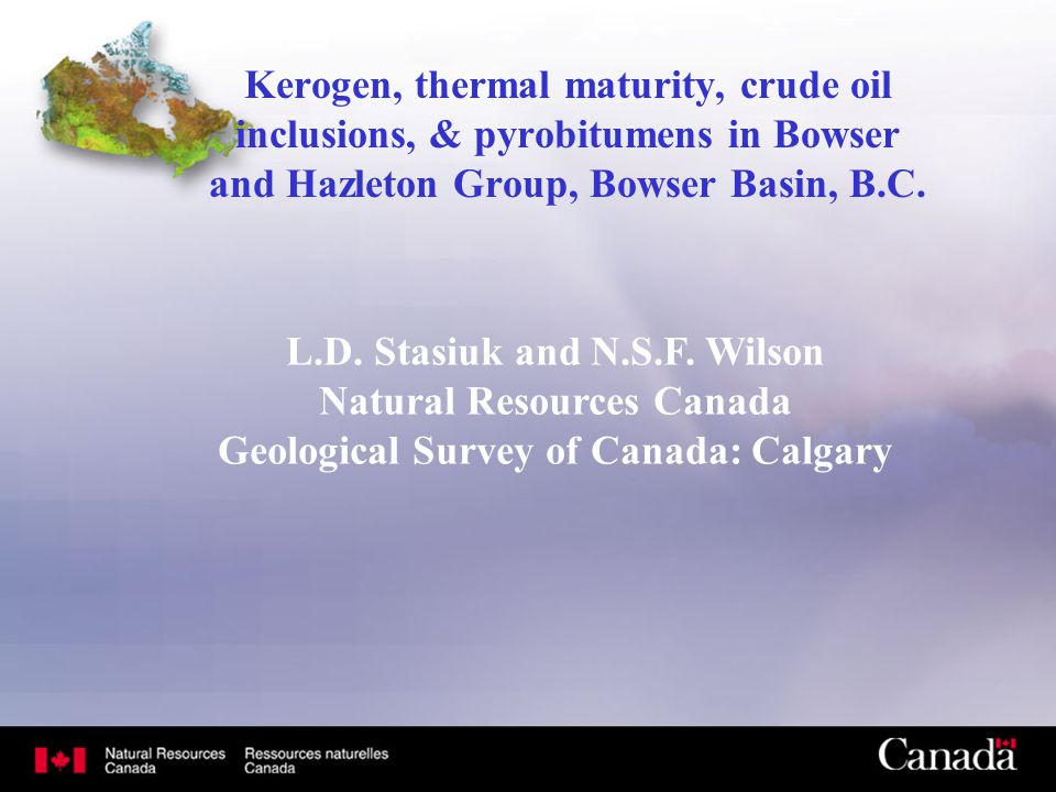 Kerogen, thermal maturity, crude oil inclusions, & pyrobitumens in Bowser and Hazleton Group, Bowser Basin, B.C. L.D. Stasiuk and N.S.F. Wilson Natura