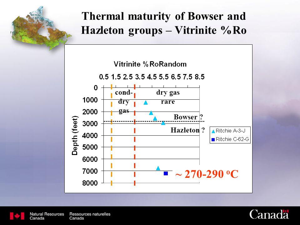 Thermal maturity of Bowser and Hazleton groups – Vitrinite %Ro cond- dry gas dry gas rare Bowser ? Hazleton ? ~ 270-290 o C