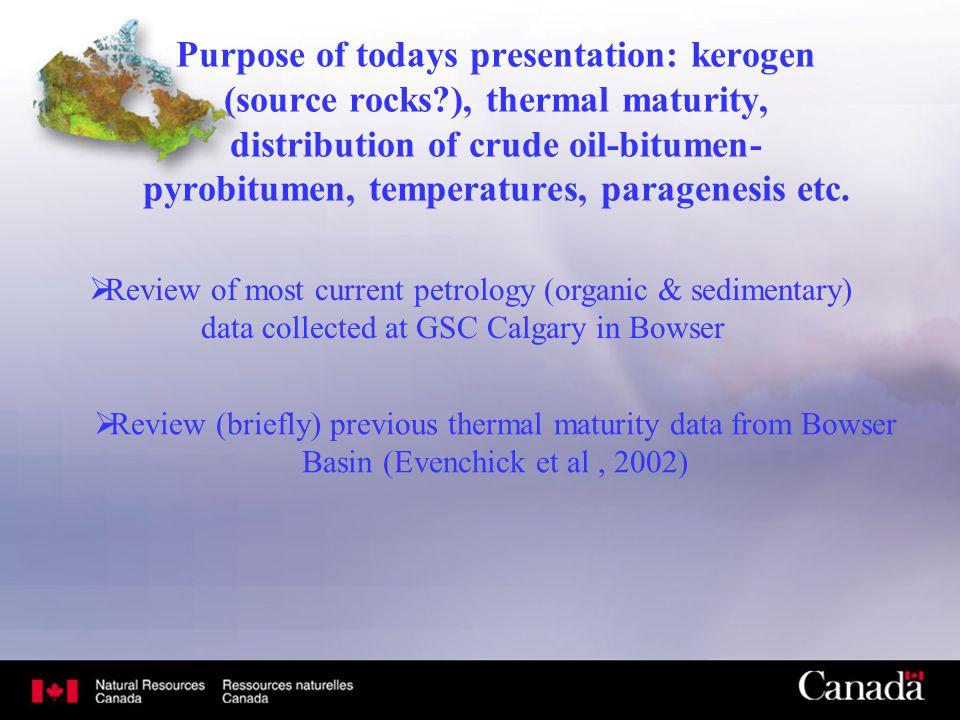 Purpose of todays presentation: kerogen (source rocks?), thermal maturity, distribution of crude oil-bitumen- pyrobitumen, temperatures, paragenesis e