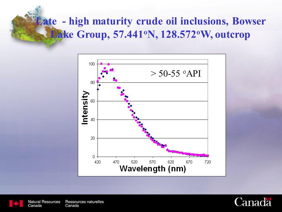 Late - high maturity crude oil inclusions, Bowser Lake Group, 57.441 o N, 128.572 o W, outcrop > 50-55 o API