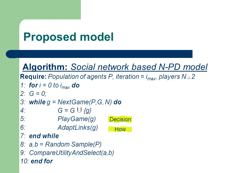 Proposed model Algorithm: Social network based N-PD model Require: Population of agents P, iteration = i max, players N 2 1: for i = 0 to i max do 2: G = 0; 3: while g = NextGame(P,G, N) do 4: G = G {g} 5: PlayGame(g) 6: AdaptLinks(g) 7: end while 8: a,b = Random Sample(P) 9: CompareUtilityAndSelect(a,b) 10: end for Decision How