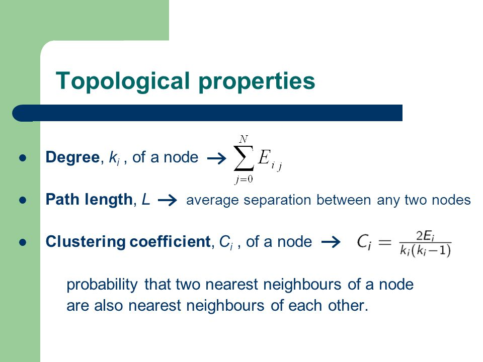 Topological properties Degree, k i, of a node Path length, L average separation between any two nodes Clustering coefficient, C i, of a node probability that two nearest neighbours of a node are also nearest neighbours of each other.