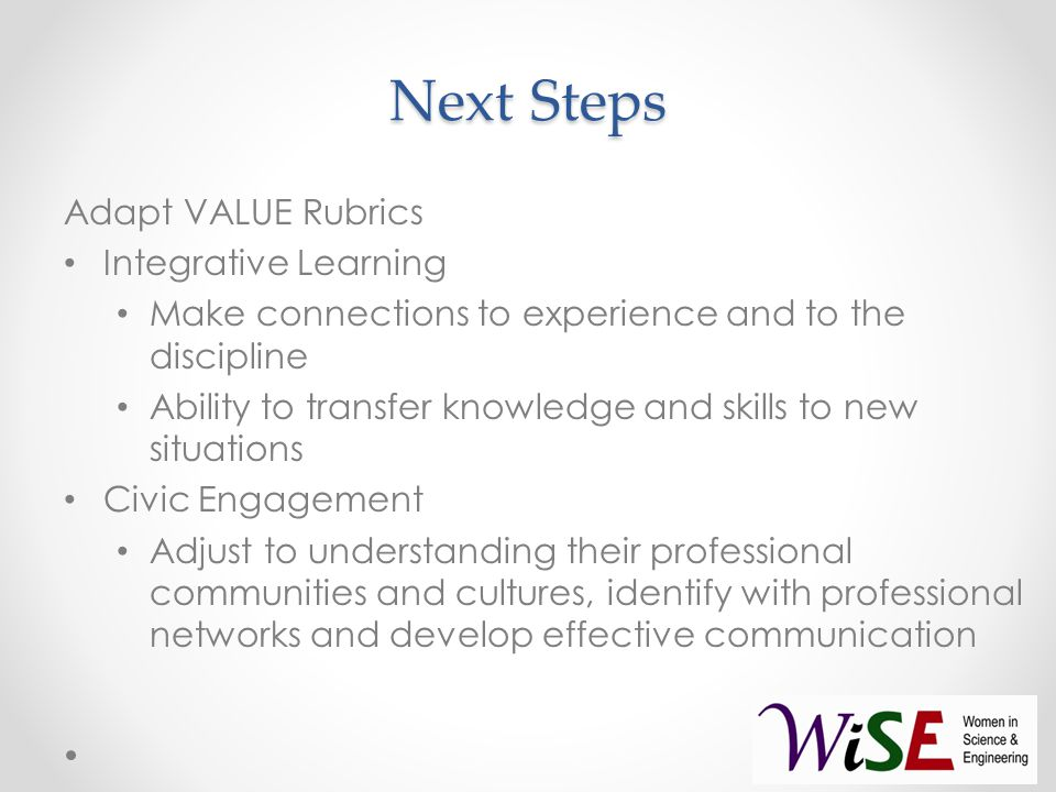 Next Steps Adapt VALUE Rubrics Integrative Learning Make connections to experience and to the discipline Ability to transfer knowledge and skills to new situations Civic Engagement Adjust to understanding their professional communities and cultures, identify with professional networks and develop effective communication