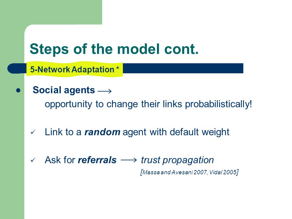 Social agents opportunity to change their links probabilistically.