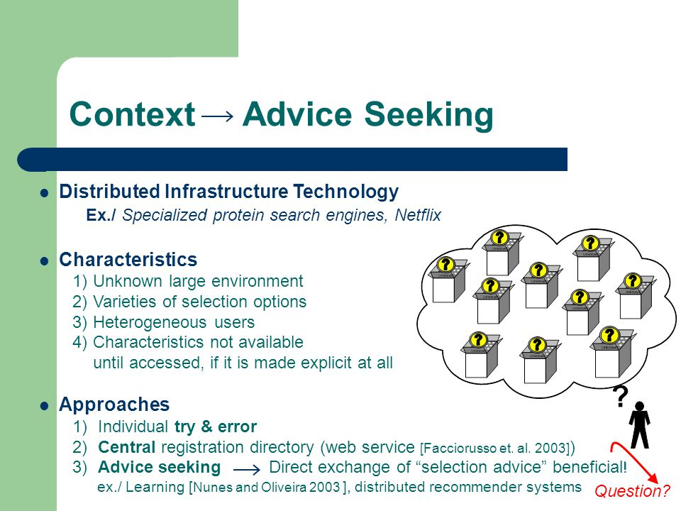 Context Advice Seeking Question: Heterogeneous individual requirements Whom.