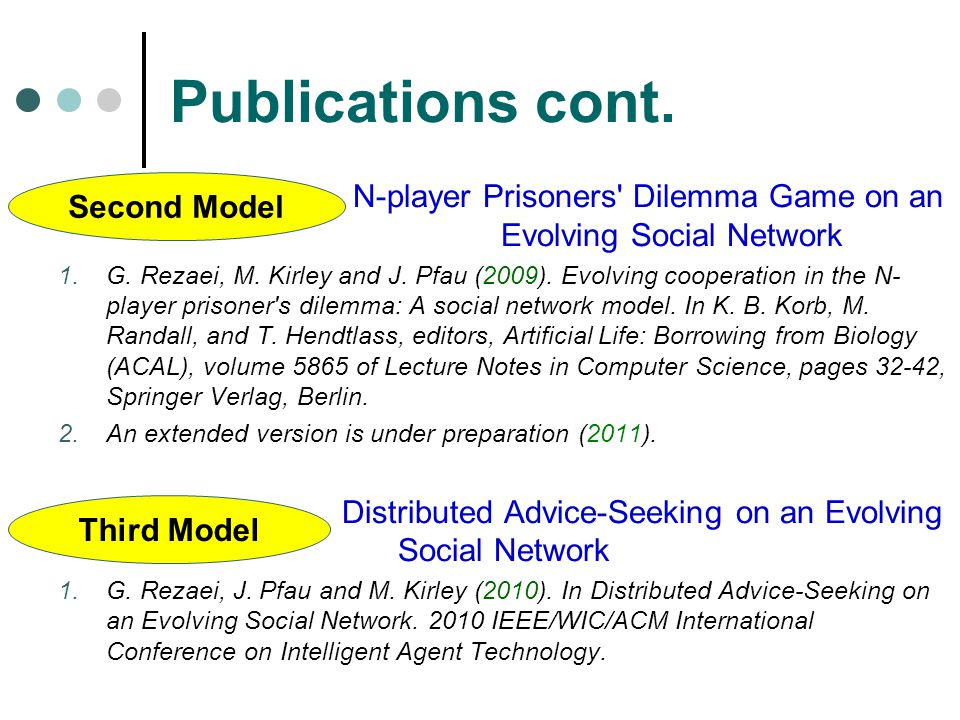 Publications cont.N-player Prisoners Dilemma Game on an Evolving Social Network 1.G.