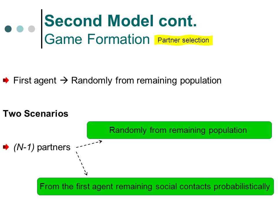 First agent  Randomly from remaining population Two Scenarios (N-1) partners Second Model cont.