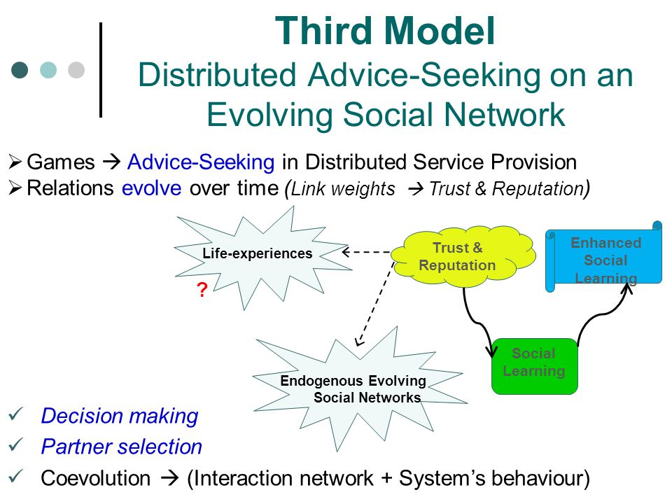 Decision making Partner selection Coevolution  (Interaction network + System's behaviour) Third Model Distributed Advice-Seeking on an Evolving Social Network Trust & Reputation Social Learning Enhanced Social Learning Endogenous Evolving Social Networks Life-experiences  Games  Advice-Seeking in Distributed Service Provision  Relations evolve over time ( Link weights  Trust & Reputation ) ?